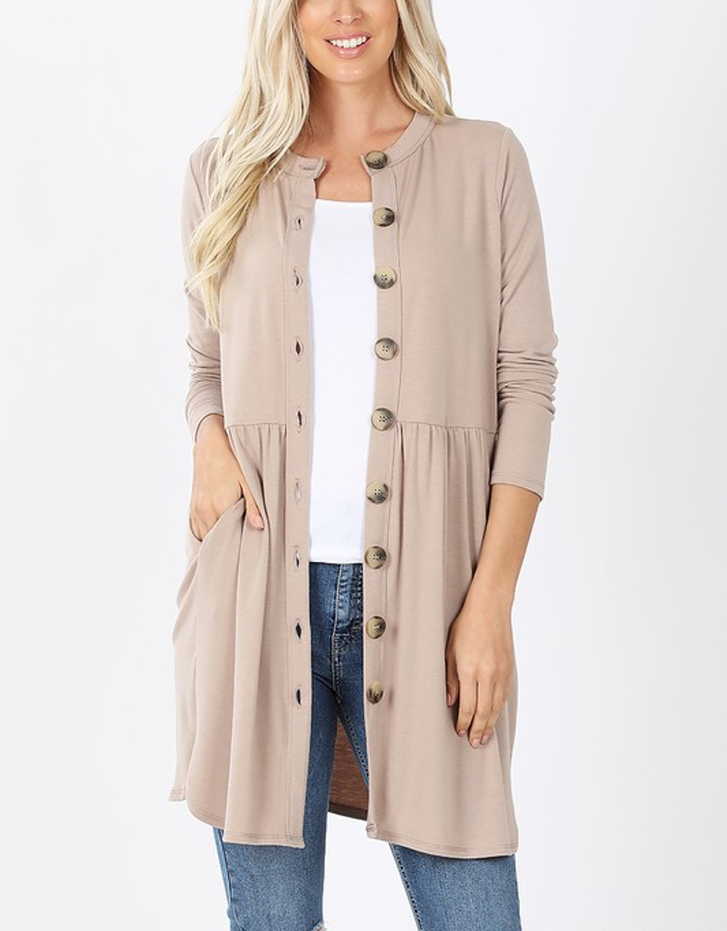 Buttoned Cardigan With Side Pocket
