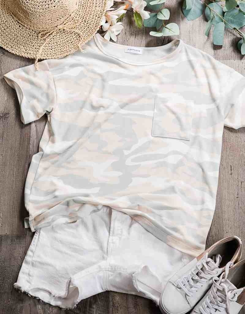 Camo Print Top w/Chest Patch Pocket