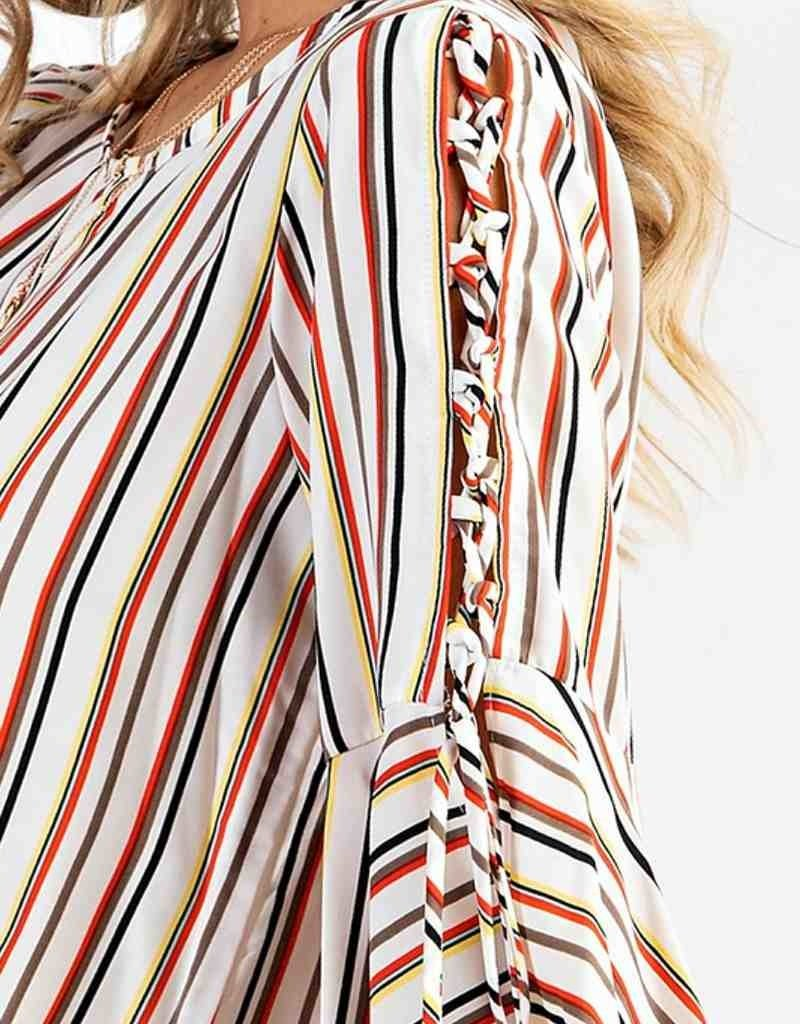Multi Stripe Lace Up Sleeve Woven Top