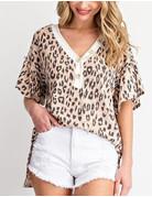 Ruffled Sleeves Leopard Print Top