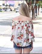 Off The Shoulder Flower Print Top