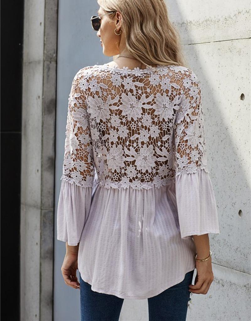 Crochet Lace Button Top - 2 Colors