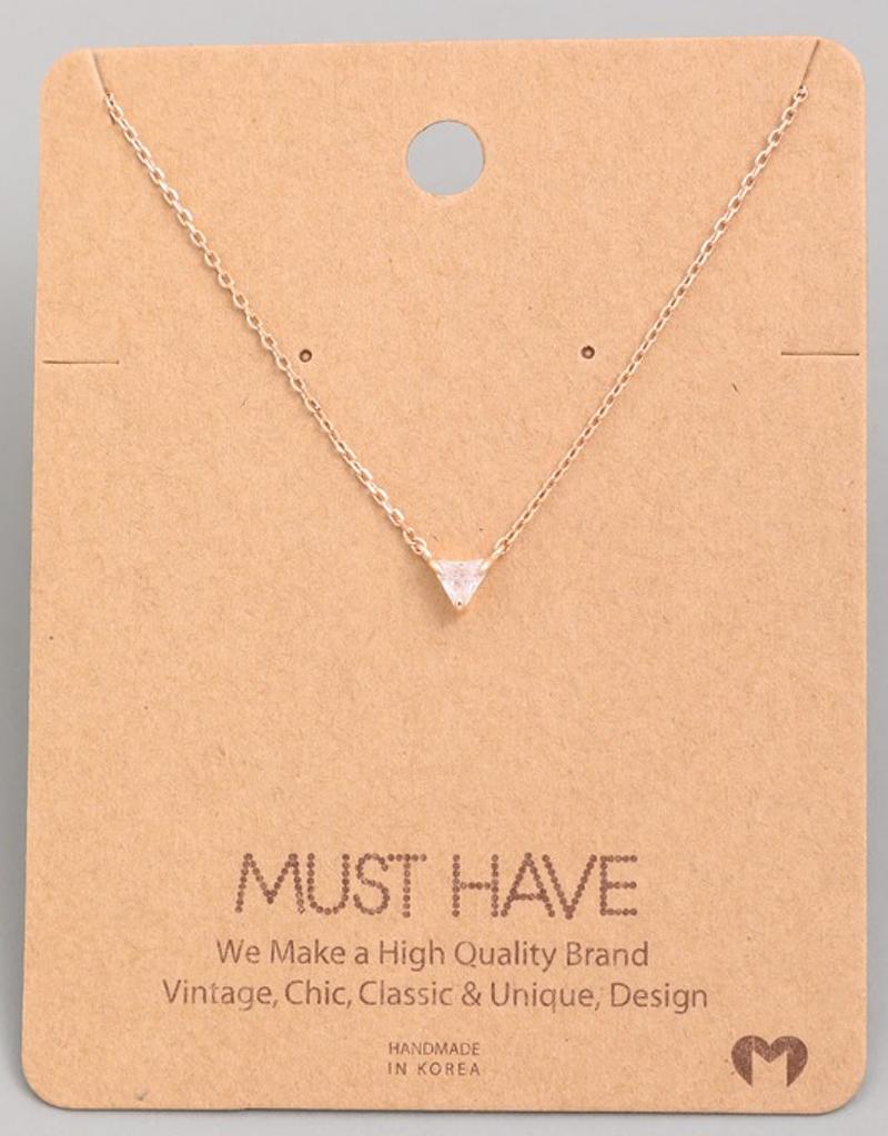 Mini Triangle Jewel Pendant Necklace