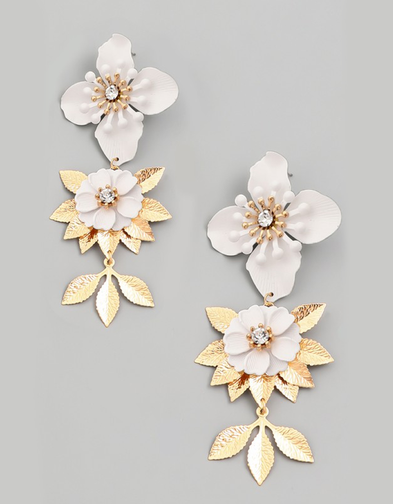 Layered Floral Drop Earrings