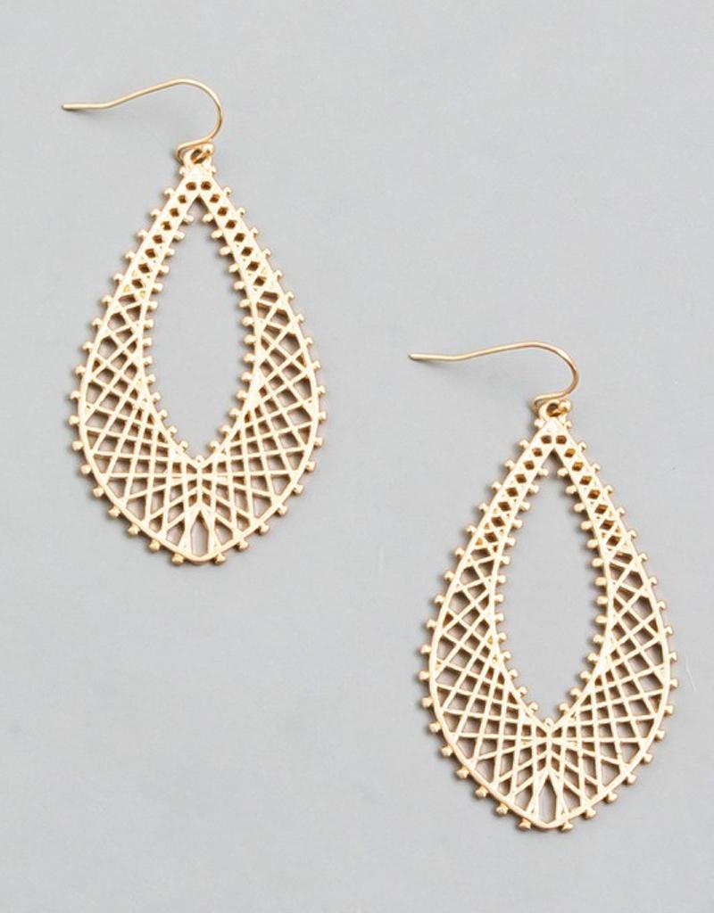 Metallic Oval Teardrop Earrings