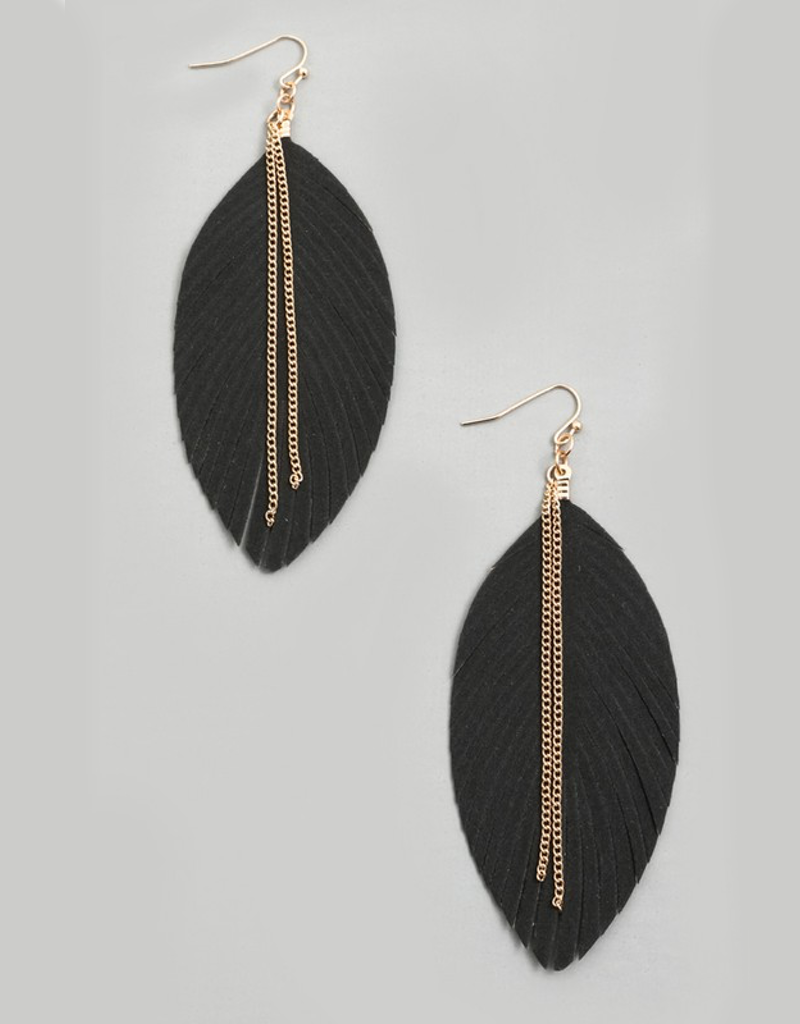Chain Fringe Leaf Drop Earrings