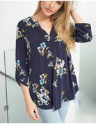 Short Sleeve Floral Print Knit Top