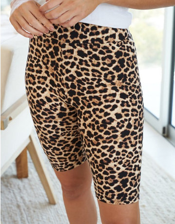 Cheetah Print Knit Biker Shorts