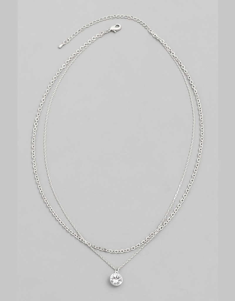Layered Stud Charm Necklace