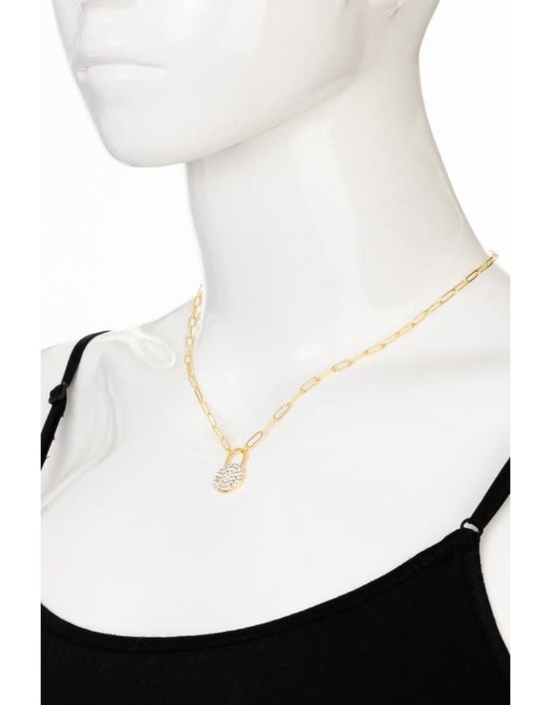 Pave Lock Chain Necklace