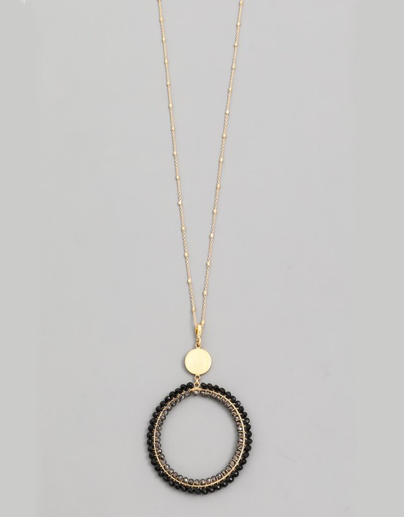 Beaded Circle Hoop Necklace