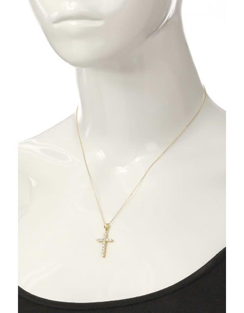 Rhinestone Studded Cross Necklace