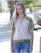 V-Neck Floral Puff Sleeve Top