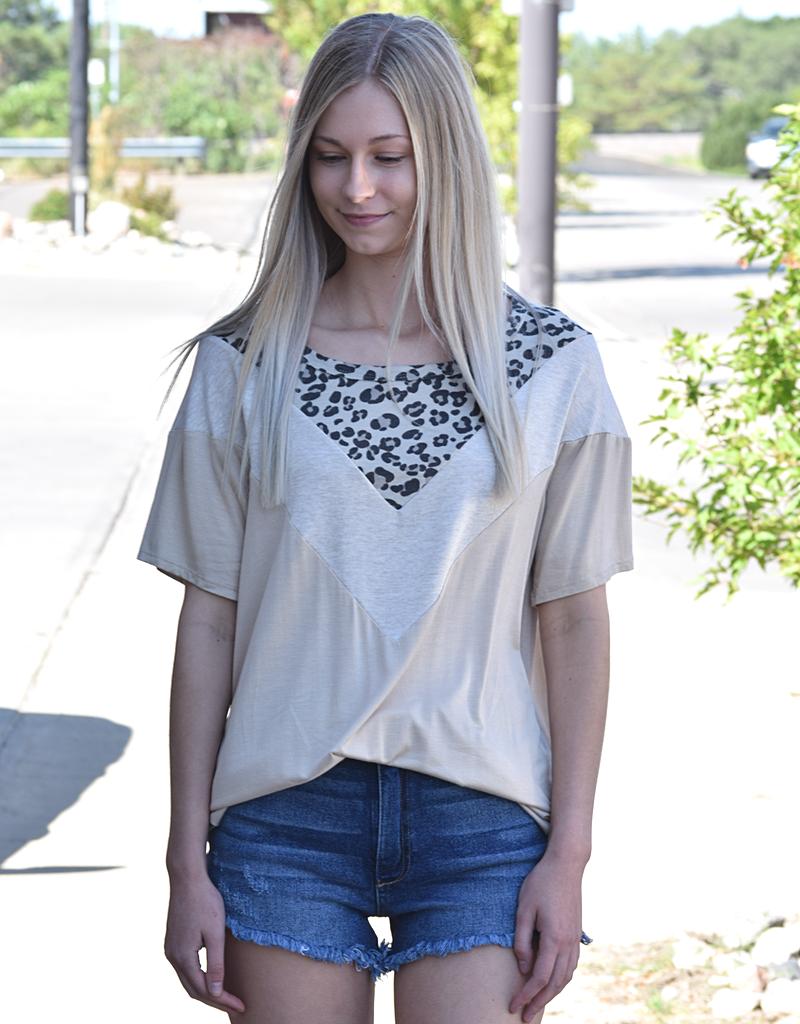 Colorblock Leopard Short Sleeve