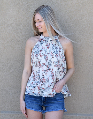 Floral Printed Soft Halter Top