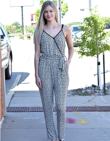 Wrap V Neck Leopard Jumpsuit