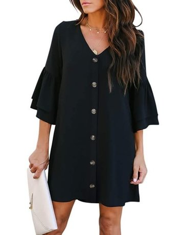 V Neck Buttoned Bell Sleeve Dress