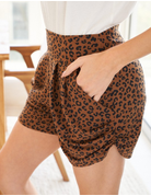 Cheetah Print Knit Shorts