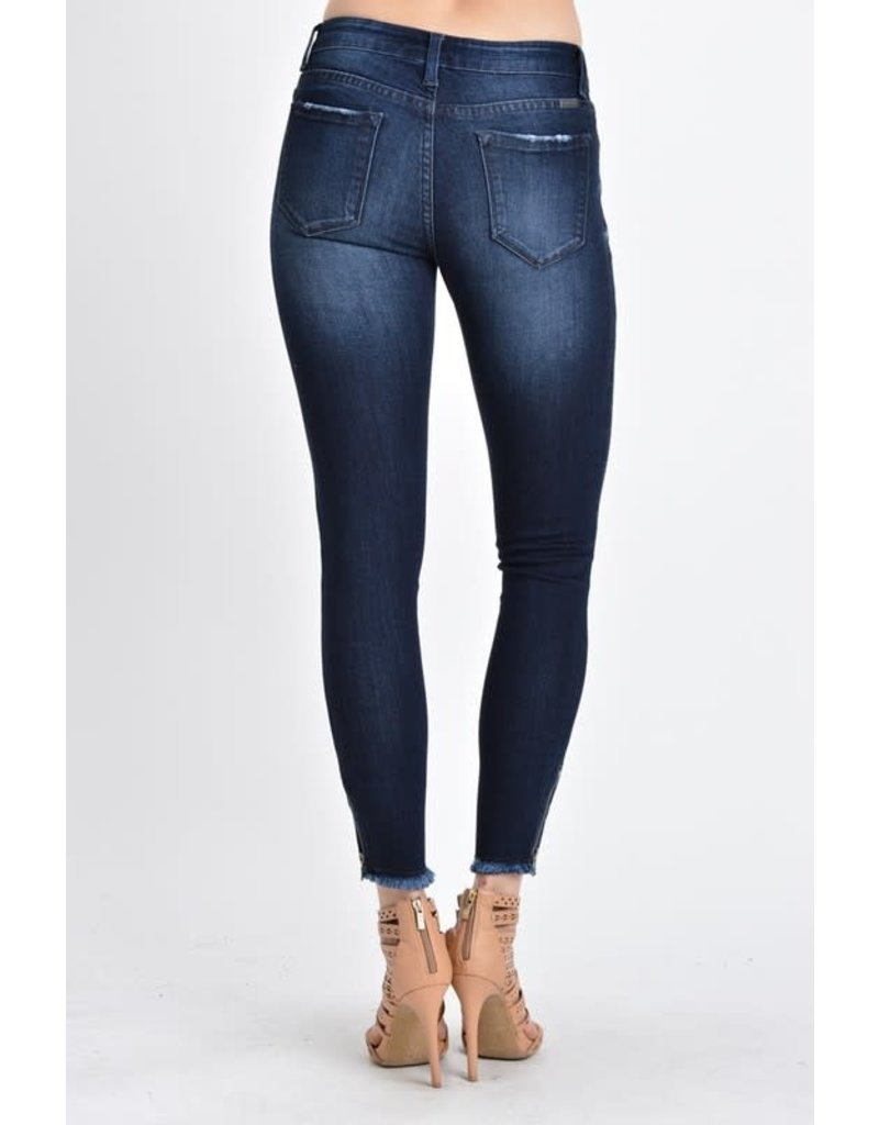 Mid Rise With Frayed Hem & Ankle Zipper