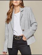 Classy Frayed Tweed Blazer