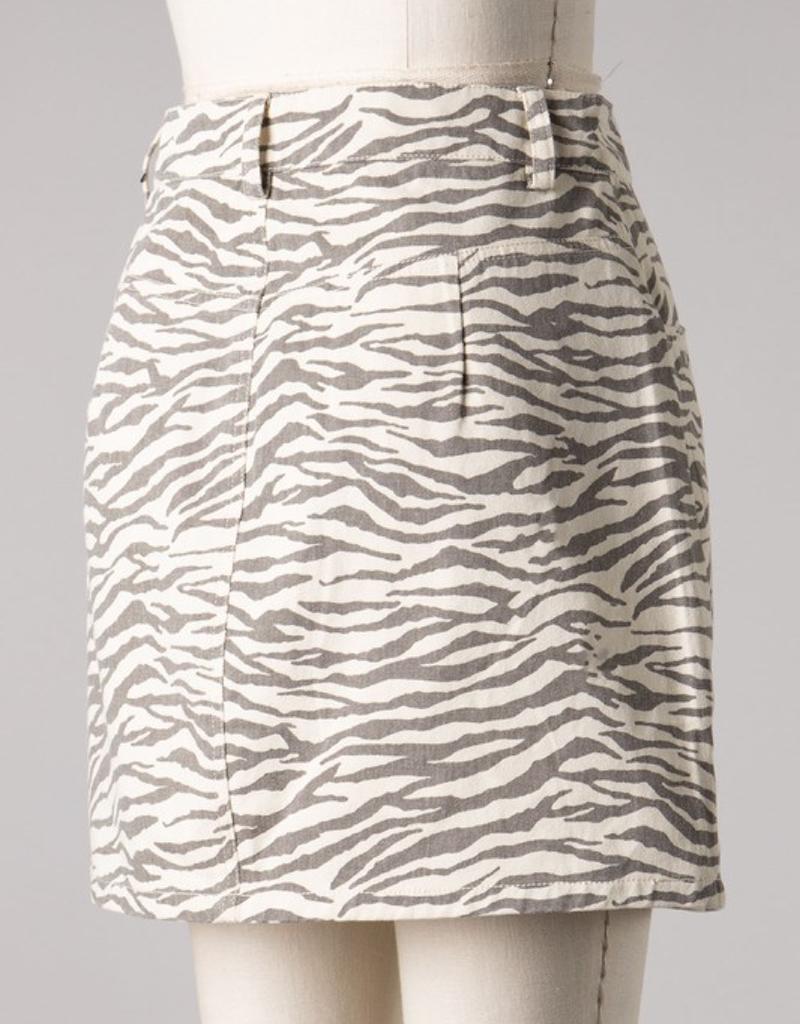 Animal Print Front Button Skirt