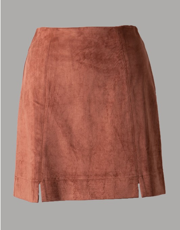 High Rise Suede Skirt