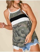 Camo Printed Sleeveless Knit Top W/Colorblock