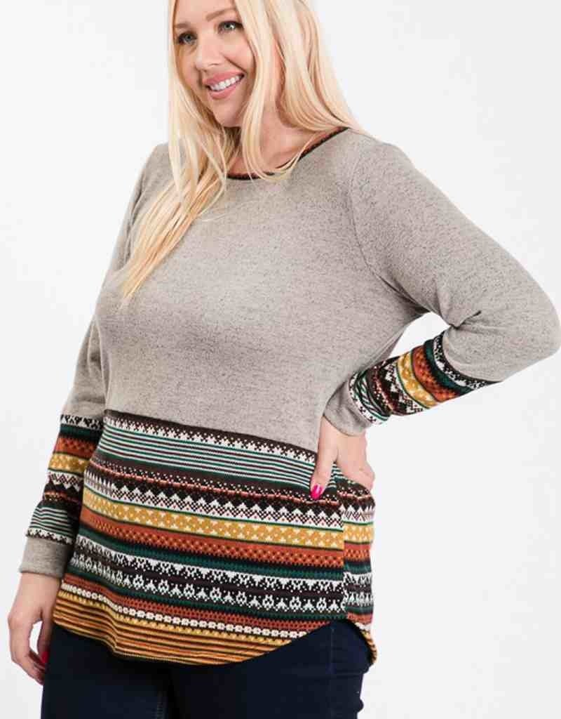 Printed Bottom Knit Top