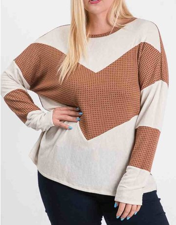 Waffle Color Blocked Long Sleeve Top