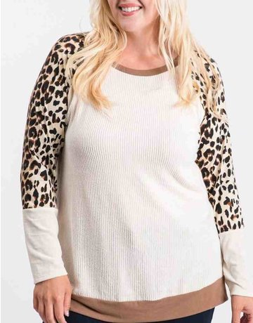 Ribbed Long Sleeve Knit Top W/ Animal Print