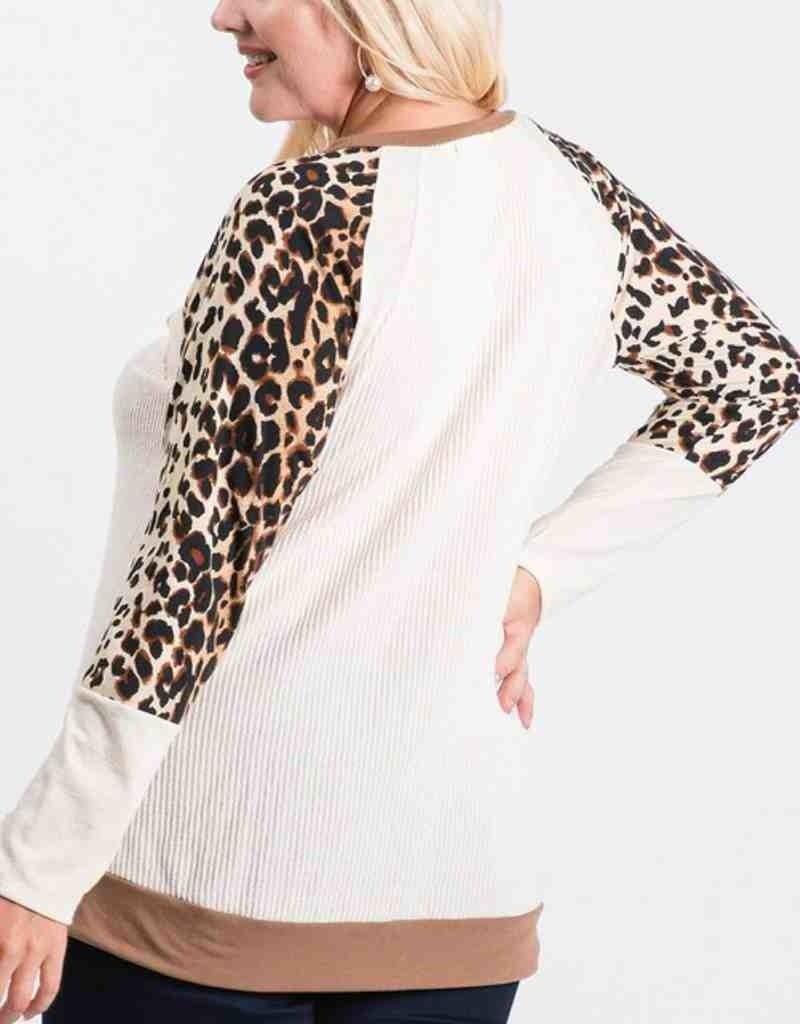 Ribbed Long Sleeve Knit Top W/ Animal Print