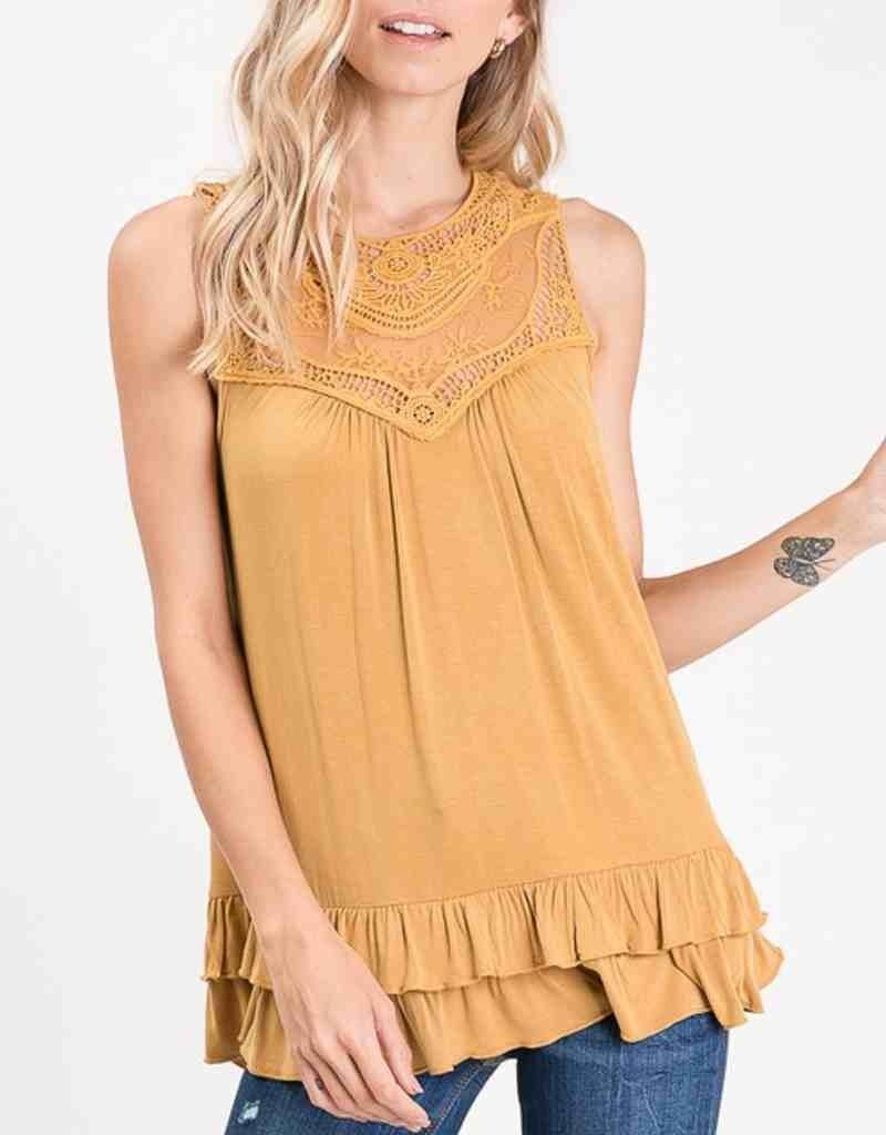 Mesh Sleeveless Top W/ Lace Trim