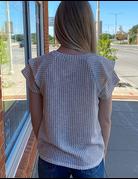 Ruffle Short Sleeve Knit Top
