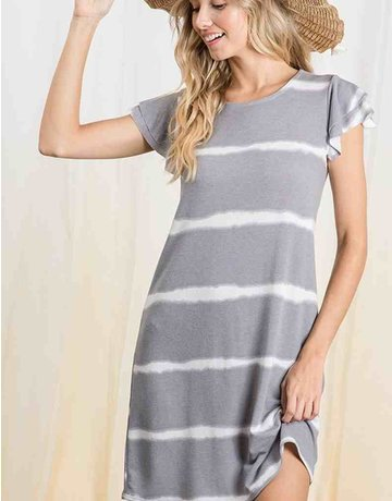Tie Dye Stripe Ruffle Sleeve Dress