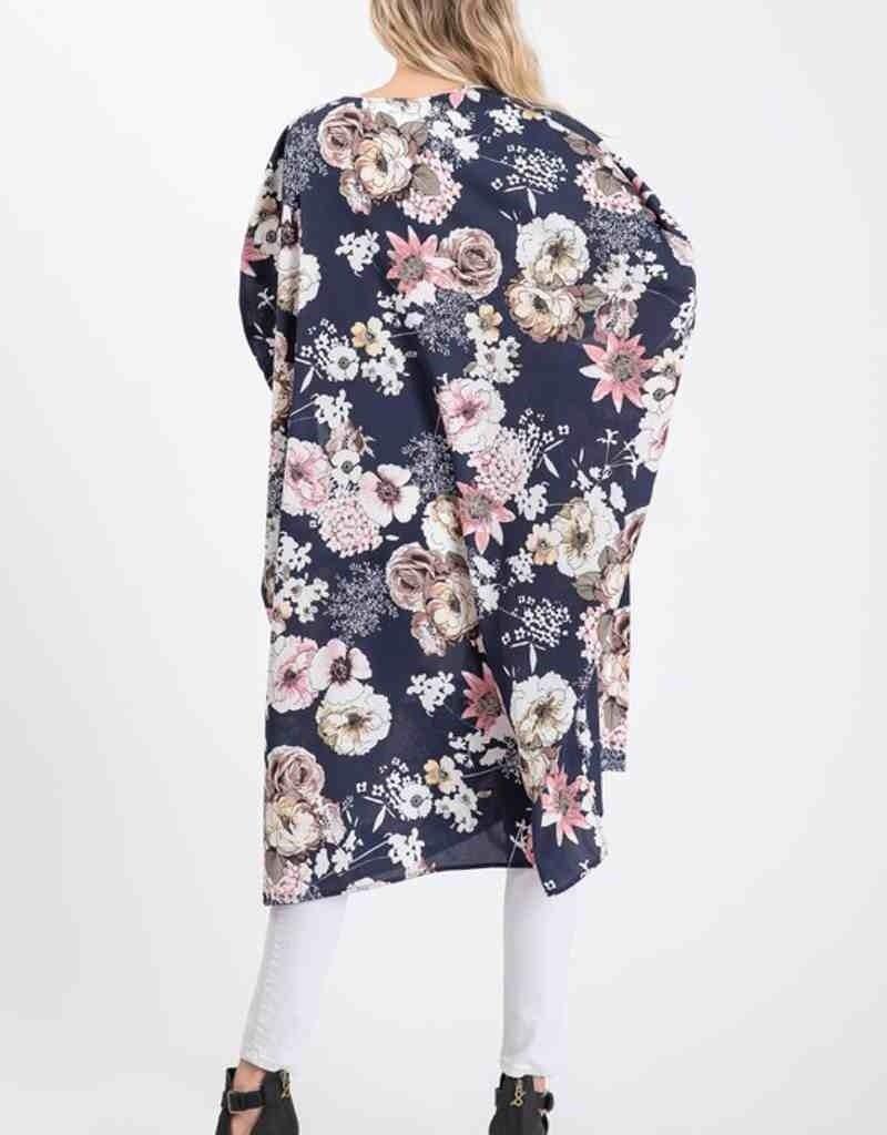 Floral Kimono W/ Side Slits