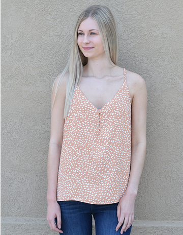 Spotted Print Woven Tank Top