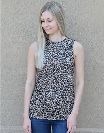 Animal Print Sleeveless Knit Top