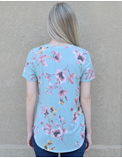 Floral Print Scoop Neck Knit Top
