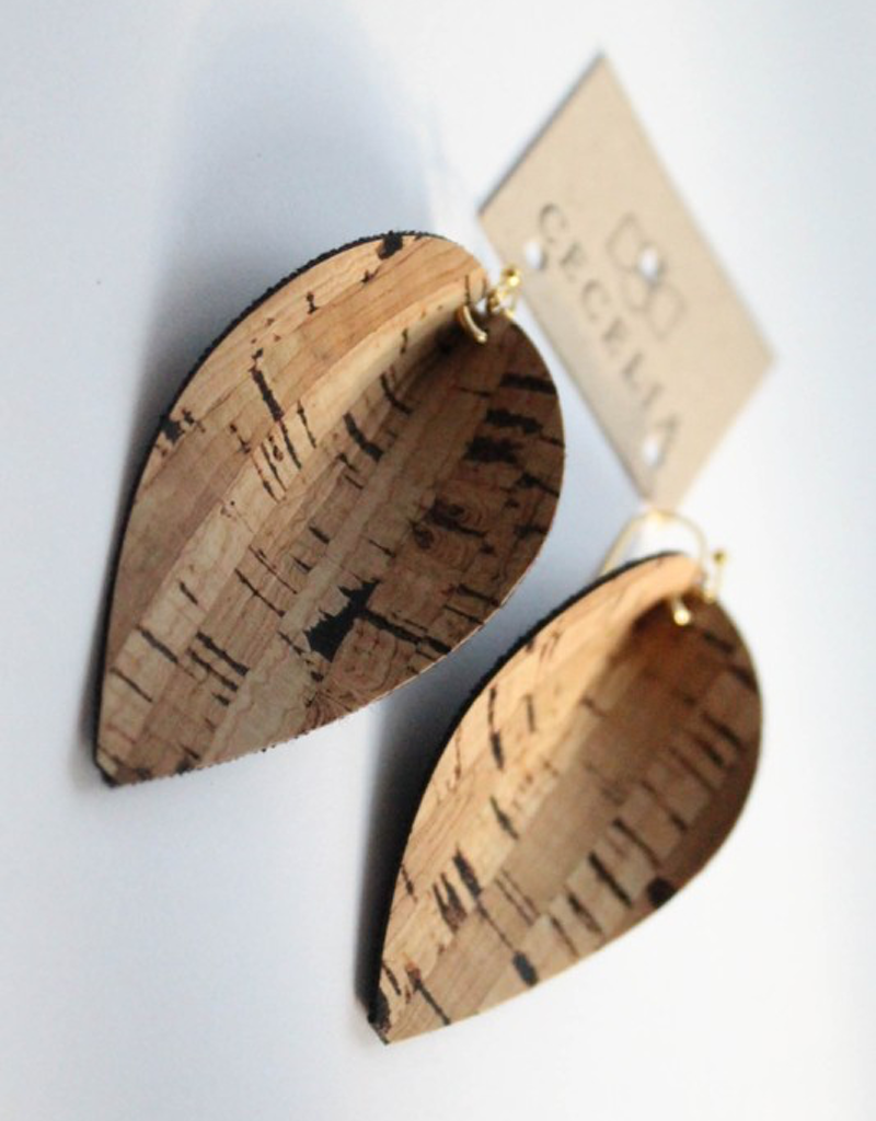 Pinched Leaf Leather Earrings