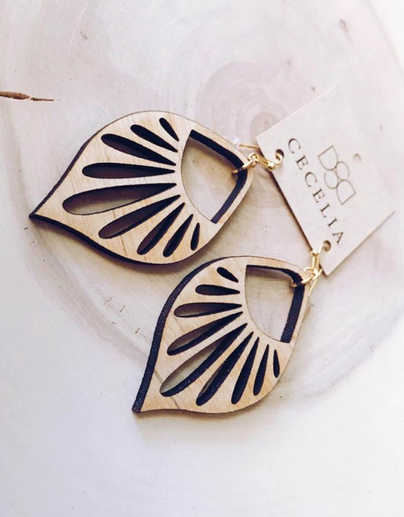 Wooden Sunburst Earrings