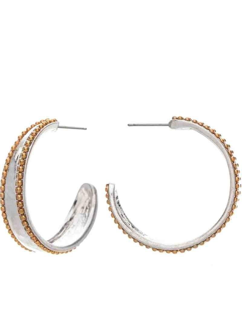 2-Tone Bead Row Hoop Earrings