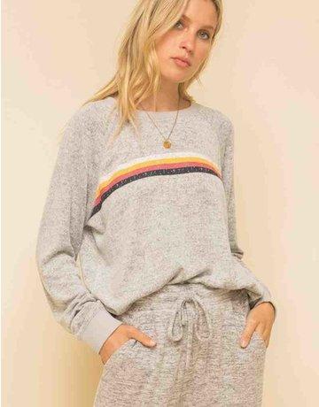 Stripe Print Brushed Hacci Sweatshirt