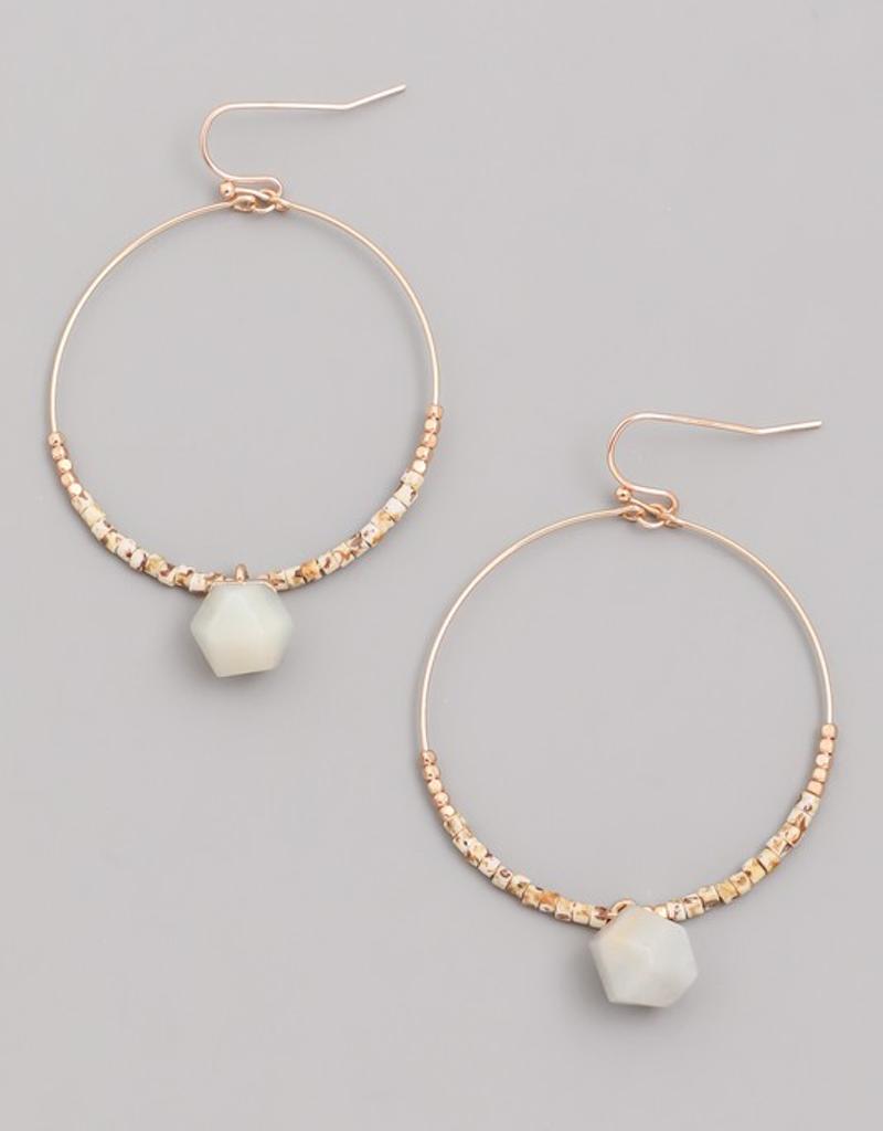 Hoop Stone Drop Earrings