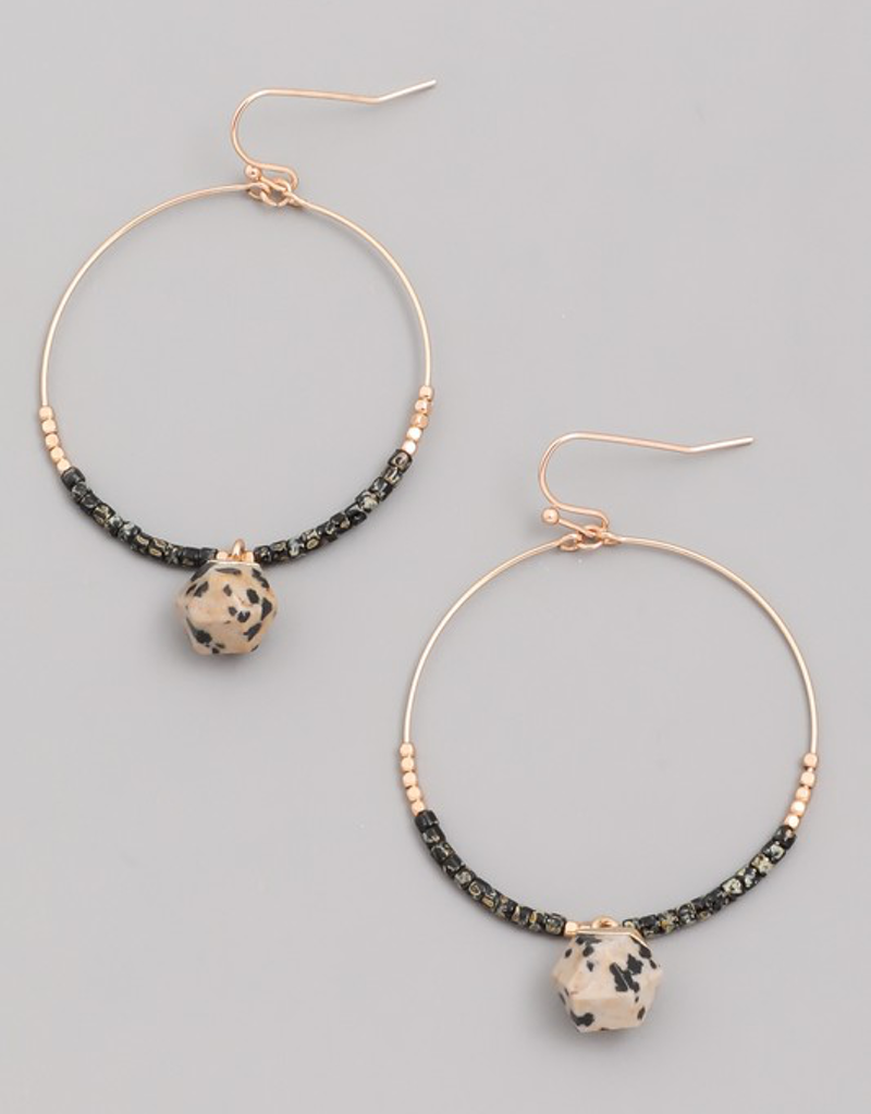 Hoop Stone Drop Earrings