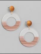 Resin Circle Hoop Drop Earrings