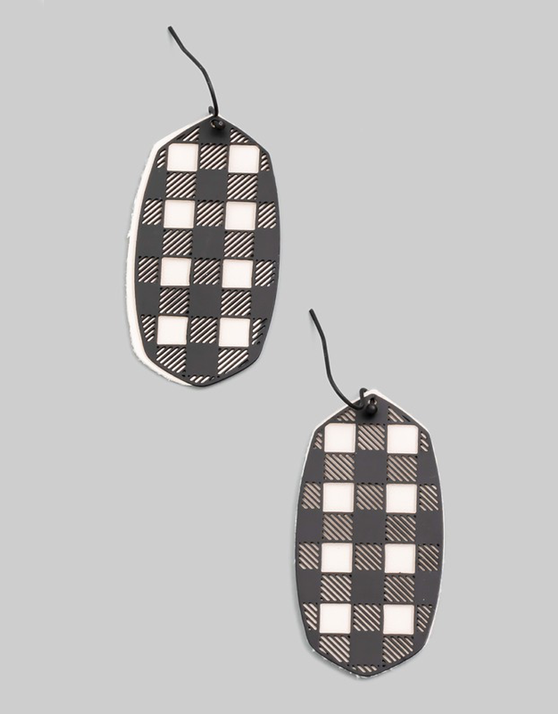 Checkered Oval Earrings