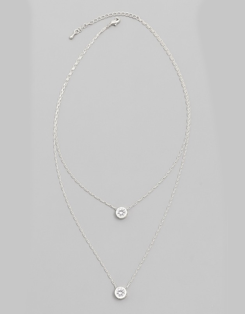Chain Layered Crystal Necklace