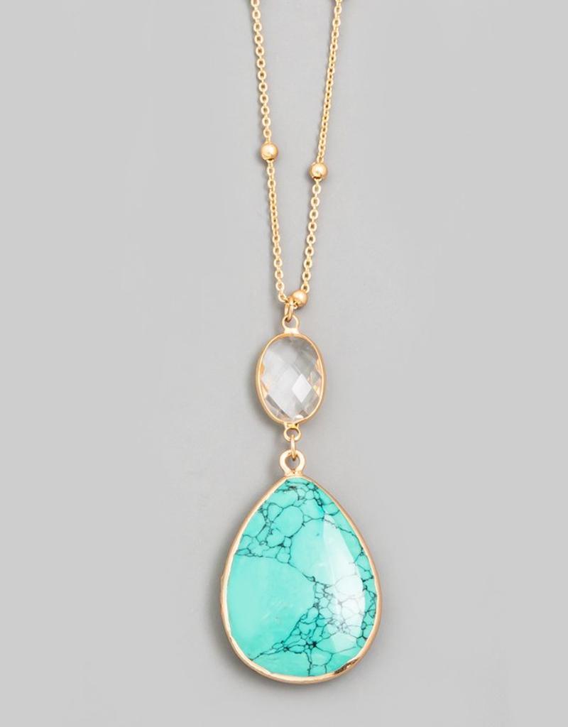 Stone Teardrop Pendant Necklace