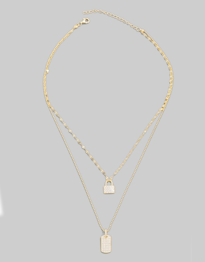Layered Pave Lock Charm Necklace