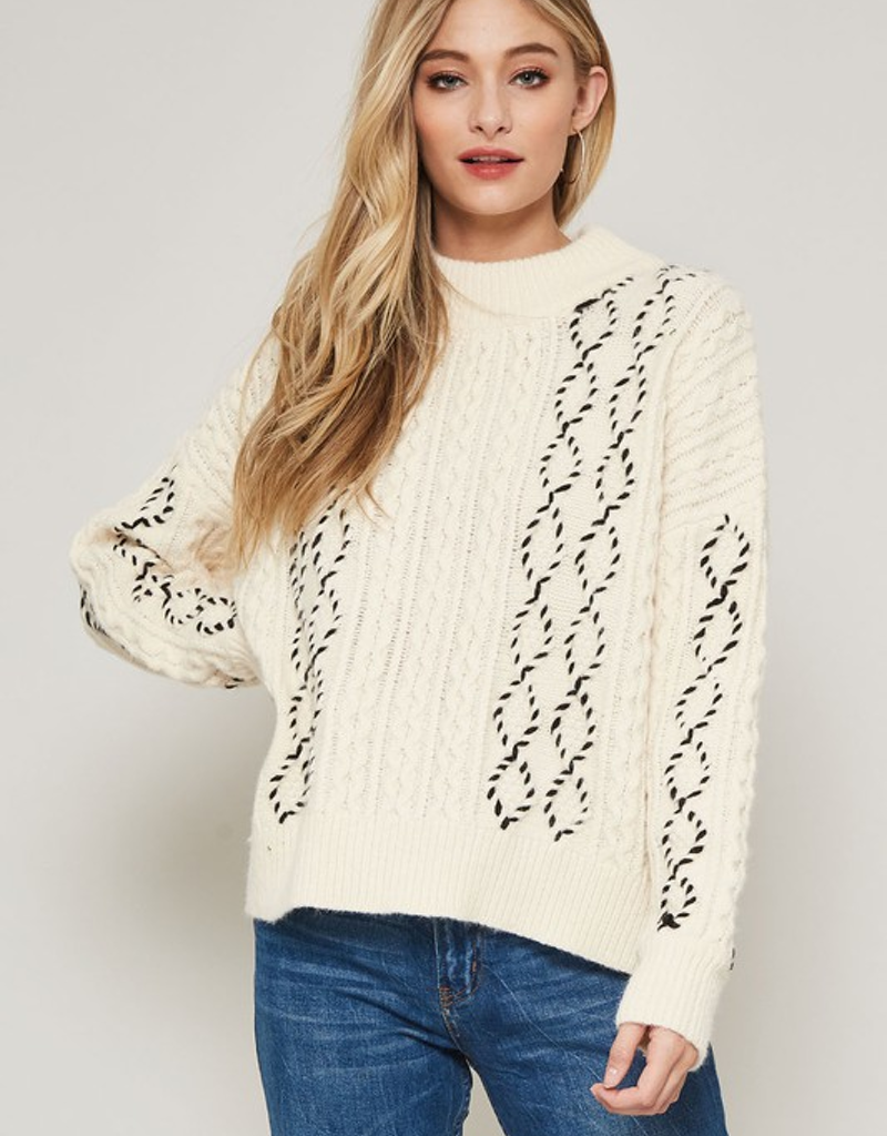 Cable Knit Sweater w/ Contrast Stitching